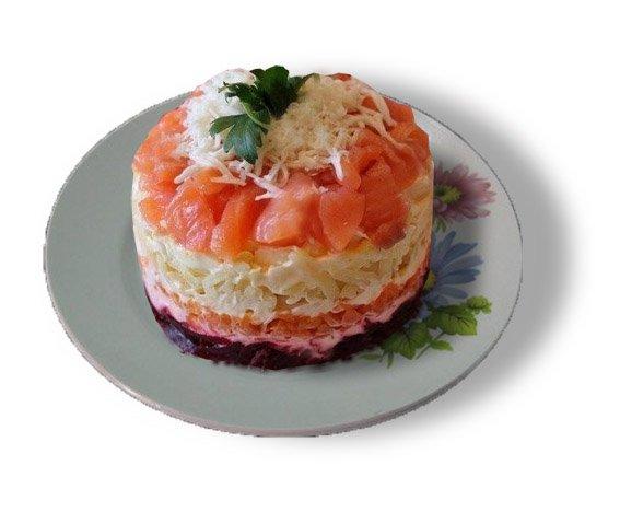 Салат под шубой с семгой рецепт с
