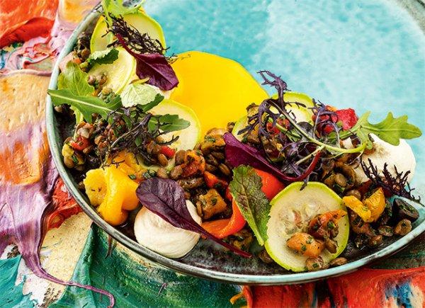 Салат из зеленой чечевицы с муссом из артишоков.(Великий пост)