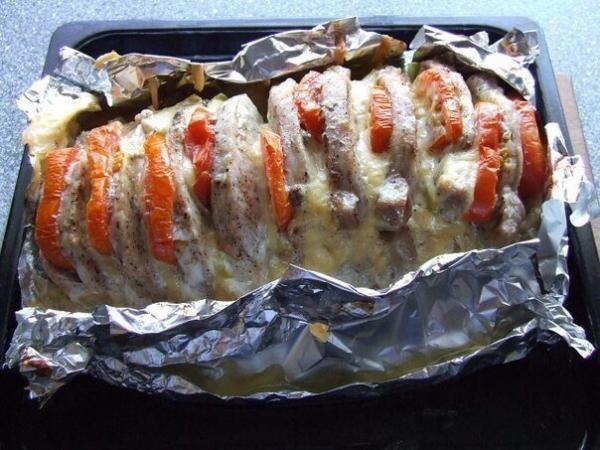 Мясо 'Гармошка' приготовленное в духовке