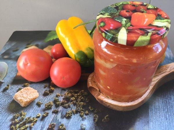 Отличная закуска из болгарских перцев и паприки в томатном пюре.( Моя заготовка на зиму)