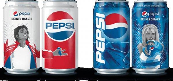 Выпустили банки Pepsi посвященные иконам поп-музыки – Бритни Спирс и Майклу Джексону.
