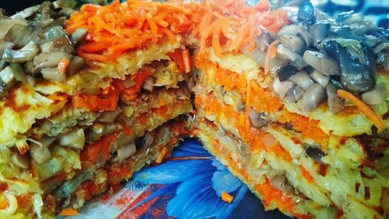Сочный, мягкий и потрясающе вкусный картофельный торт с грибами и морковью