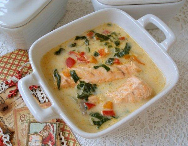 Как приготовить очень вкусный сырный суп с лососем