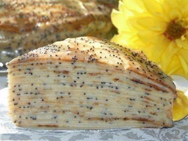 Блинный торт «Маковка» с заварным кремом