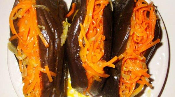 Фаршированные баклажаны морковью в маринаде на закуску