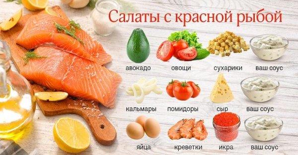Праздничные салаты с красной рыбой