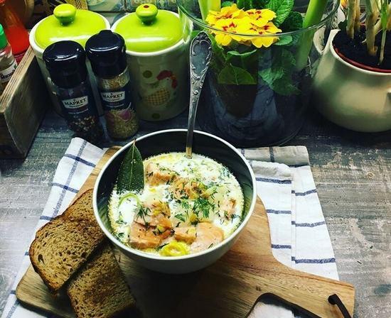 Финский традиционный сливочный суп с лососем. (lohikeitto)