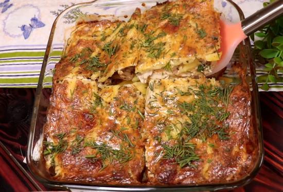 Запеканка с картошкой и куриным филе