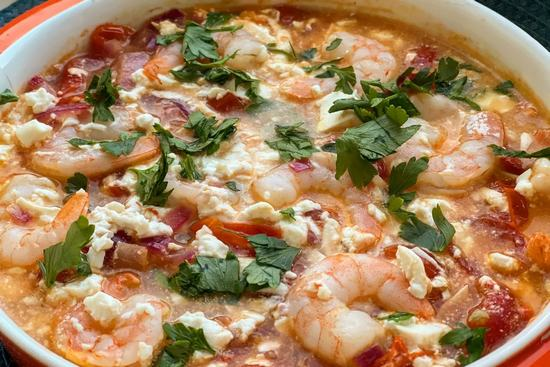 Греческая закуска: Креветки, запеченные с сыром фета и помидорами. (Фоторецепт)