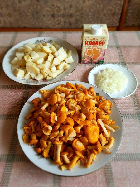 Лисички, томлёные в сливках, с отварным обжаренным картофелем.(Фоторецепт)
